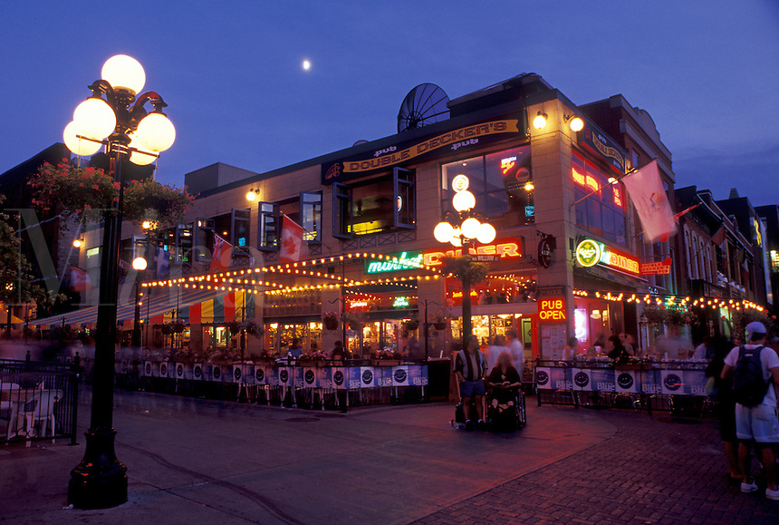 Ottawa, Canada, Ontario, Outdoor cafés and restaurants along the street at Byward Market in the evening in Ottawa.