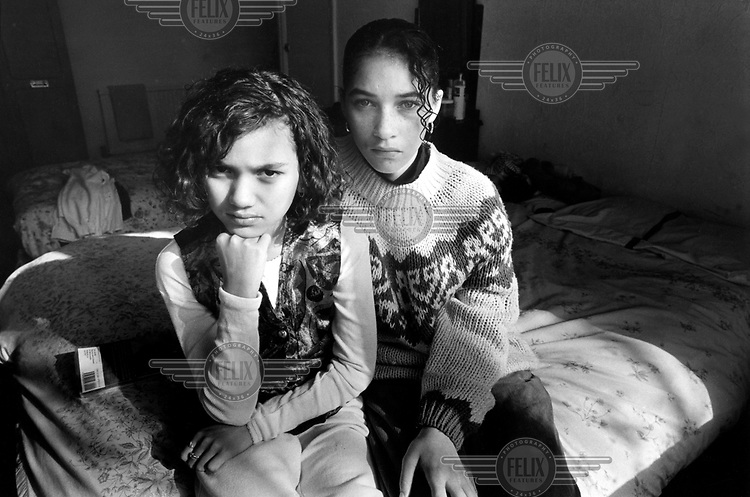 Two girls who became homeless after being the victims of racist abuse on their council estate, now living in a Bed & Breakfast.