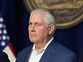 United States Secretary of State Rex Tillerson listens as Republicans take turns speaking to the media at Camp David, the presidential retreat near Thurmont, Maryland, after US President Donald J. Trump held meetings for Cabinet members and Republican members of Congress to discuss the Republican legislative agenda for 2018 on January 6, 2018.<br /> Credit: Chris Kleponis / Pool via CNP