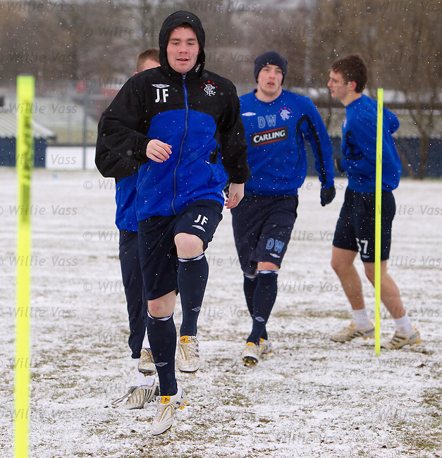 John Fleck training in a hoodie