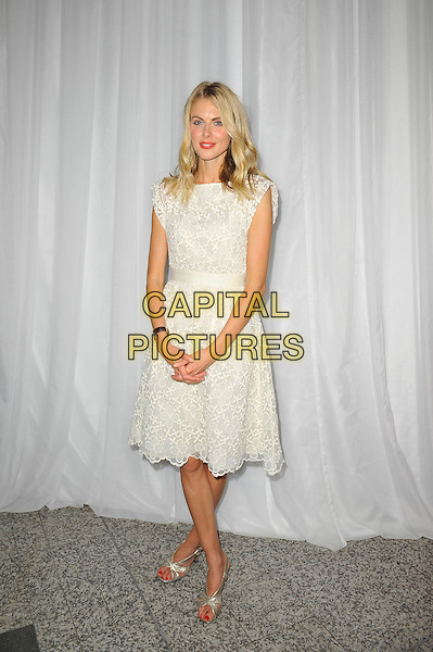 Donna Air <br /> attending Global Smurfs Day, Westfield London, Shepherd's Bush, London, England, UK, 22nd June 2013.<br /> full length white lace dress silver sandals <br /> CAP/MAR<br /> &copy; Martin Harris/Capital Pictures