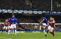26th December 2019; Goodison Park, Liverpool, Merseyside, England; English Premier League Football, Everton versus Burnley; Yerry Mina of Everton mis hits his shot from close range as sees his effort fly wide of the Burnley goal post - Strictly Editorial Use Only. No use with unauthorized audio, video, data, fixture lists, club/league logos or 'live' services. Online in-match use limited to 120 images, no video emulation. No use in betting, games or single club/league/player publications
