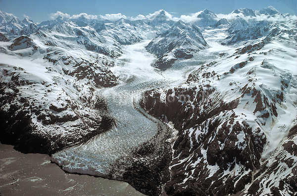 Aerial view of Margerie Glacier, a tidewater glacier flowing from Fairweather Mountains into Tarr Inlet in Glacier Bay National Park, Alaska, AGPix_0043