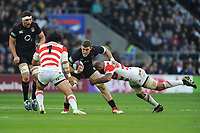 Mark Wilson of England is tackled by Keita Inagaki and Michael Leitch (c) of Japan during the Quilter International match between England and Japan at Twickenham Stadium on Saturday 17th November 2018 (Photo by Rob Munro/Stewart Communications)