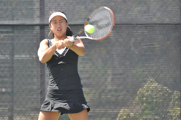 April 28, 2012; San Diego, CA, USA; Pepperdine Waves athlete Lorraine Guillermo during the WCC Tennis Championships at the Barnes Tennis Center.
