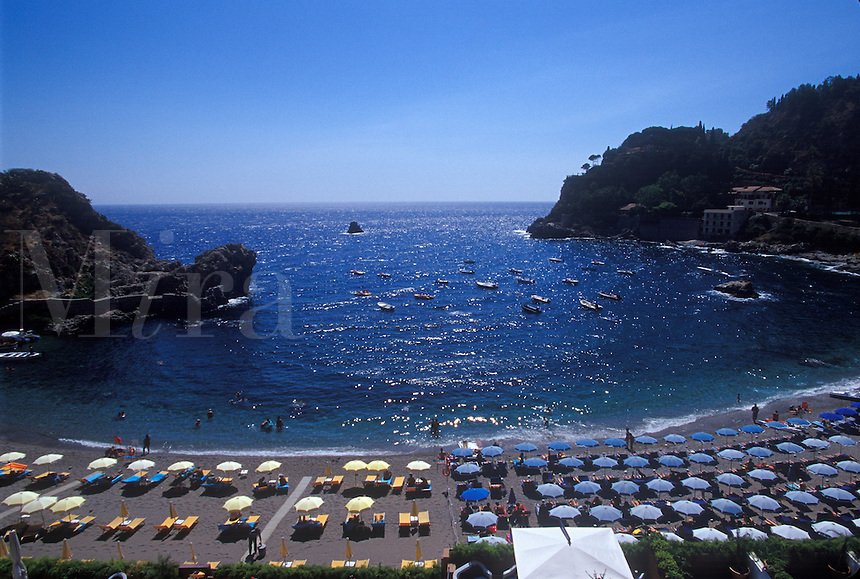 Seaside resort in Mazzaro near Taormina, Sicily, Italy