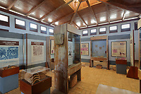 Exhibition in the Museum, or Museo de la Isabela, in the Parque Nacional Historico y Arqueologico de La Isabela, or Historical National Park of La Isabela, one of the oldest European settlements in the New World, in Luperon province, on the North coast of the Dominican Republic, in the Caribbean. The town of La Isabela was founded in 1493 by Christopher Columbus and a fort, houses, church, warehouses, and an arsenal were built, but the settlement was abandoned in 1496 due to hurricane damage. Picture by Manuel Cohen