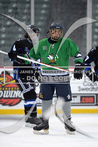Notre Dame Fighting Irish of Batavia forward Bryce Polito (18) during a varsity ice hockey game against the Brockport Blue Devils during the Section V Rivalry portion of the Frozen Frontier outdoor hockey event at Frontier Field on December 22, 2013 in Rochester, New York.  (Copyright Mike Janes Photography)