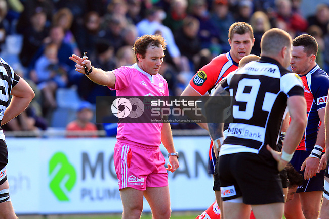 Referee Glen Jackson,Tasman Makos vs Hawkes Bay Magpies ITM Cup rugby match held at Lansdowne Park, Blenheim 17th August 2014. Photo Gavin Hadfield / Shuttersport