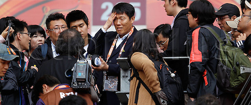 11 06 2010   Port Elizabeth Cha Bum Kun C The famous Footballer of South Korea is interviewed by Reporters during A Training Session AT The Nelson Mandela Bay Stage in Port Elizabeth ON June 11 2010 Ahead of The 2010 Football World Cup in South Africa