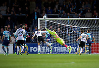 Goalkeeper Scott Brown of Wycombe Wanderers makes a good save during the Carabao Cup match between Wycombe Wanderers and Fulham at Adams Park, High Wycombe, England on 8 August 2017. Photo by Alan  Stanford / PRiME Media Images.