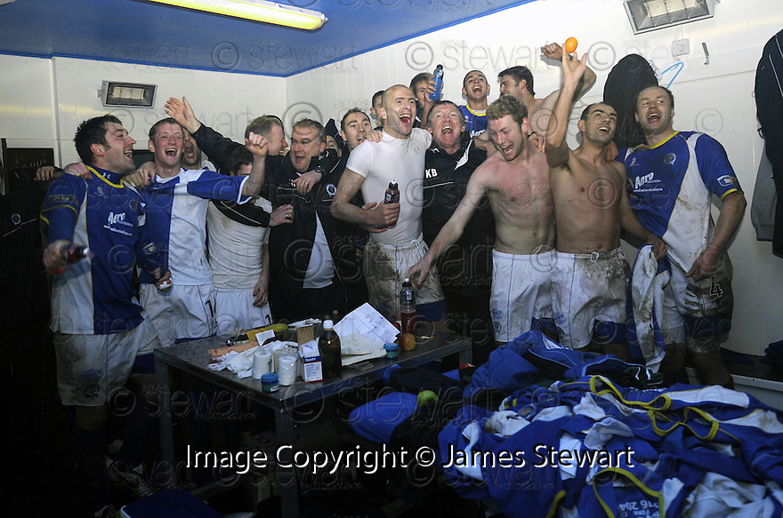08/03/2008    Copyright Pic: James Stewart.File Name : sct_jspa15_qots_v_dundee.THE QUEEN OF THE SOUTH PLAYERS CELEBRATE THEIR WIN.James Stewart Photo Agency 19 Carronlea Drive, Falkirk. FK2 8DN      Vat Reg No. 607 6932 25.Studio      : +44 (0)1324 611191 .Mobile      : +44 (0)7721 416997.E-mail  :  jim@jspa.co.uk.If you require further information then contact Jim Stewart on any of the numbers above........