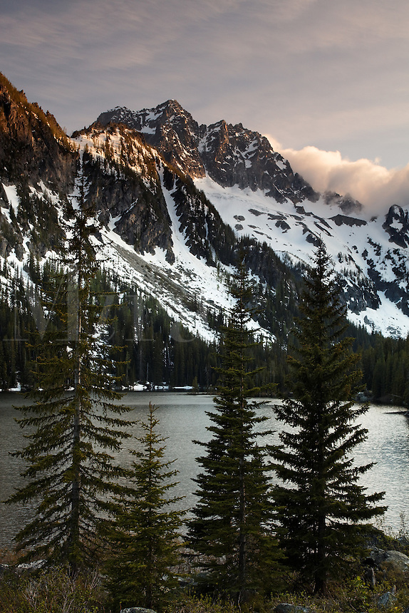 Mount Stuart above Lake Stuart on a stormy day, Alpine Lakes Wilderness, Wenatchee National Forest, near Leavenworth, Chelan County, Washington, USA