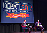 "Oct. 11, 2012 - Hempstead, New York, U.S. - ROBERT GIBBS, former White House Press Secretary and a longtime Advisor to Pres. Obama, and KARL ROVE, former Deputy Chief of Staff and Senior Advisor to Pres. G. W. Bush, have a Point/Counterpoint discussion at Hofstra University Debate 2012 event. This is part of ""Debate 2012 Pride Politics and Policy"" a series of events leading up to when Hofstra hosts the 2nd Presidential Debate between Obama and M. Romney, on October 16, 2012, in a Town Meeting format."