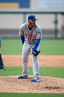 St. Lucie Mets starting pitcher Marcos Molina (27) looks in for the sign during a game against the Lakeland Flying Tigers on June 11, 2017 at Joker Marchant Stadium in Lakeland, Florida.  Lakeland defeated St. Lucie 1-0.  (Mike Janes/Four Seam Images)