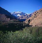 Jebel Toubkal mountain range from Imlil, Atlas Mountains, Morocco,