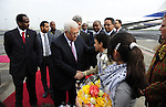 Palestinian President Mahmoud Abbas (Abu Mazen) during his arriving to the Ethiopian capital Addis Ababa on July 7,2010. Photo by Omar Rashidi