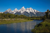Tetons Reflecting in snake river, Schwabacher Landing, Grand Teton NP,Wyoming, USA