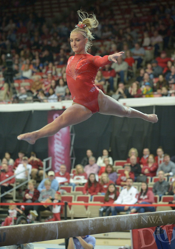 NWA Democrat-Gazette/ANDY SHUPE<br /> Arkansas' Sarah Shaffer competes in the beam Saturday, Jan. 5, 2019, during the Razorbacks' meet with No. 2 Oklahoma in Barnhill Arena in Fayetteville. Visit nwadg.com/photos to see more photographs from the meet.