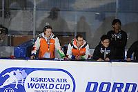 SCHAATSEN: DORDRECHT: Sportboulevard, Korean Air ISU World Cup Finale, 11-02-2012, Coaches, Jeroen Otter NED, Wim De Deyne NED, JPN, ©foto: Martin de Jong