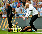 Reading manager Jaap Stam reacts as Rajiv van La Parra of Huddersfield Town lies injured during the SkyBet Championship Play Off Final match at the Wembley Stadium, England. Picture date: May 29th, 2017.Picture credit should read: Matt McNulty/Sportimage