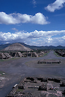 The Avenue of the Dead and Pyramid of the Sun from the top of the Pyramid of the Moon, Teotihuacan, Mexico