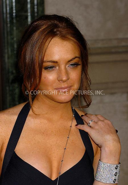 WWW.ACEPIXS.COM . . . . .  ....NEW YORK, JUNE 8, 2006....Lindsay Lohan at the Cartier Charity Love Bracelet Party. ....Please byline: AJ Sokalner - ACEPIXS.COM.... *** ***..Ace Pictures, Inc:  ..(212) 243-8787 or (646) 769 0430..e-mail: picturedesk@acepixs.com..web: http://www.acepixs.com