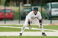 21 May 2009: Romain Scott-Martinez takes a lead off first base during the 2009 challenge de France, a tournament with the best French baseball teams - all eight elite league clubs - to determine a spot in the European Cup next year, at Montpellier, France.