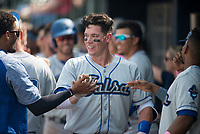 NWA Democrat-Gazette/CHARLIE KAIJO Tulsa Drillers first baseman Peter O'Brien (35) returns to the dugout after scoring a home run during a baseball game, Sunday, May 13, 2018 at Arvest Ballpark in Springdale.
