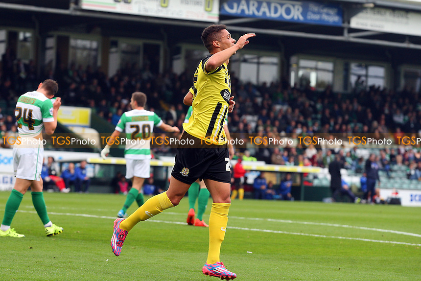 Kane Ferdinand of Dagenham celebrates scoring the opening goal during Yeovil Town vs Dagenham and Redbridge, Sky Bet League 2 Football at Huish Park, Yeovil, England on 10/10/2015