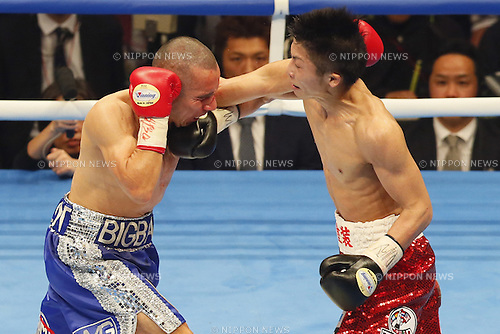 (L to R) <br /> Adrian Hernandez (MEX),<br /> Naoya Inoue (JPN),<br /> APRIL 6, 2014 - Boxing : WBC light fly weight title bout at Ota-City General Gymnasium, Tokyo, Japan. (Photo by AFLO SPORT)