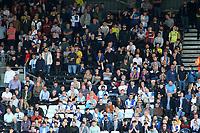 Blackburn Rovers fans enjoy the atmosphere inside Crave Cottage<br /> <br /> Photographer David Shipman/CameraSport<br /> <br /> The EFL Sky Bet Championship - Fulham v Blackburn Rovers - Saturday 10th August 2019 - Craven Cottage - London<br /> <br /> World Copyright © 2019 CameraSport. All rights reserved. 43 Linden Ave. Countesthorpe. Leicester. England. LE8 5PG - Tel: +44 (0) 116 277 4147 - admin@camerasport.com - www.camerasport.com