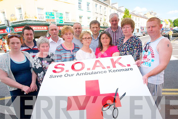 The Save our Ambulance Kenmare committee have vowed to continue to fight the HSE and the National Ambulance Service to retain the full ambulance service for the town. <br /> Front L-R Niamh Nic Gearailt, Tina West, Mary O'Sullivan, Clare Thoma (SKDP), Sue O'Connor, Mairead Cronin (secretary) and Sean Kidney. <br /> Back L-R Des Flynn (PRO) Michael Hayes (chairman),  Michael O'Sullivan, Billy Bevan (vice-chairman) and Dan McCarthy.