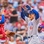 15 June 2016: Chicago Cubs first baseman Anthony Rizzo comes home to score after hitting a home run against the Washington Nationals at Nationals Park in Washington, DC. The Cubs fell to the Nationals 5-4 in 12 innings in the rubber match of their 3-game series. Mandatory Credit: Ed Wolfstein Photo *** RAW (NEF) Image File Available ***