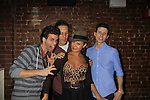 As The World Turns' Lauren B. Martin poses with castmates Josh Davis, Kevin DeBacker and Nick Lewis as Empire The Series has a cast & crew get together to see the newest episode on August 28, 2012 at Smithfields in Chelsea, New York City, New York.  (Photo by Sue Coflin/Max Photos)