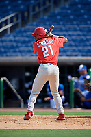 Philadelphia Phillies Kendall Simmons (21) at bat during an Instructional League game against the Toronto Blue Jays on September 17, 2019 at Spectrum Field in Clearwater, Florida.  (Mike Janes/Four Seam Images)