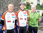Martin Byrne, John Smyth and Liam Clarke who took part in the annual SOSAD cycle in Slane. Photo: Colin Bell/pressphotos.ie