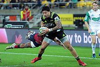 Hurricanes' Ben Lam scores his second try during the Super Rugby match between the Hurricanes and Reds at Westpac Stadium in Wellington, New Zealand on Friday, 18 May 2018. Photo: Dave Lintott / lintottphoto.co.nz