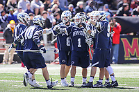 College Park, MD - April 8, 2017: Penn State Nittany Lions players celebrate after a goal during game between Penn State and Maryland at  Capital One Field at Maryland Stadium in College Park, MD.  (Photo by Elliott Brown/Media Images International)