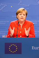 Chancellor of Germany Angela Merkel gives a press conference at the EU Summit - Belgium