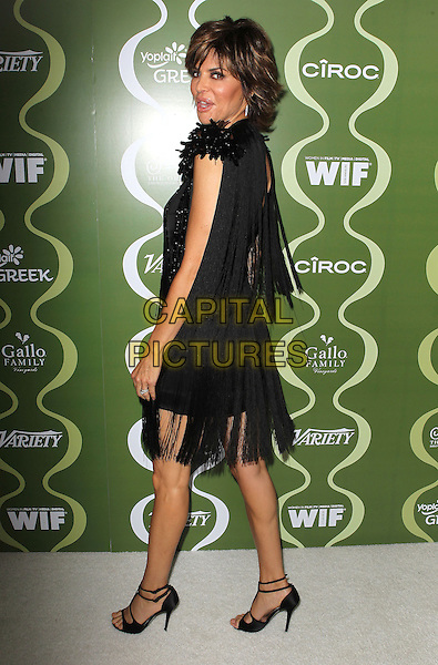 Lisa Rinna<br /> Variety &amp; Women In Film Pre-Emmy Event presented by Yoplait Greek held at Scarpetta, Beverly Hills, California, USA, <br /> 20th September 2013.<br /> full length black dress tassels beaded shoulders sparkly beaded open toe shoes sandals side back over shoulder rear behind <br /> CAP/ADM/KB<br /> &copy;Kevan Brooks/AdMedia/Capital Pictures