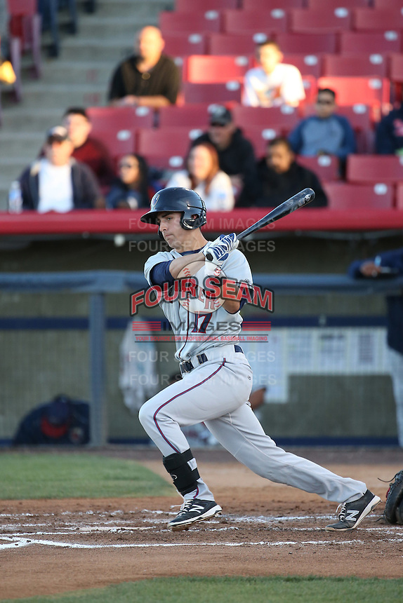 Jamie Ritchie (17) of the Lancaster JetHawks bats against the High Desert Mavericks at Heritage Field on April 23, 2016 in Adelanto, California. High Desert defeated Lancaster, 10-9. (Larry Goren/Four Seam Images)