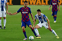 8th July 2020; Camp Nou, Barcelona, Catalonia, Spain; La Liga Football, Barcelona versus Espanyol;  Busquets lays the ball back under pressure from Marc Roca