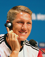 Bastian Schweinsteiger of Germany speaks during the press conference