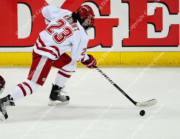 Junior, Hilary Knight, is one of two Badgers to score Saturday night, as the Wisconsin women's hockey team tops Minnesota-Duluth 2-1 to advance to the Frozen Four on Saturday, 3/12/11, at the Kohl Center in Madison, Wisconsin