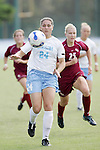 11 November 2007: North Carolina's Jessica Maxwell (24) beats Florida State's Sanna Talonen (25) to the ball. The University of North Carolina defeated Florida State University 1-0 at the Disney Wide World of Sports complex in Orlando, FL in the Atlantic Coast Conference Women's Soccer tournament final.