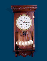 PENDULUM CLOCK -stroboscopic<br /> Regulator Wall Clock<br /> The images of the pendulum appear farther apart at the bottom because the bob moves faster at the bottom of the swing and slows down at the top of the swing. Strobed at equal time intervals