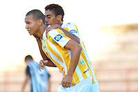 SÃO JOSÉ DO RIO PRETO, SP , 11 DE JANEIRO DE 2013 - ESPORTES - FUTEBOL - 44ª COPA SÃO PAULO DE FUTEBOL JÚNIOR -  RONDONOPÓLIS - MT X SANTOS - AP -  Luiz Felipe (E) jogador do Rondonopolis comemora após marcar seu gol  durante partida contra o Santos - AP  válida pela copa São Paulo, no estádio (Teixeirão),  na cidade de São José do Rio Preto, no interior do estado de Sao Paulo, nesta sexta-feira, 11. FOTO: DORIVAL ROSA/  BRAZIL PHOTO PRESS