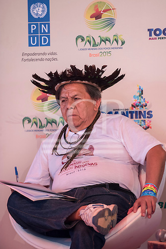 Marcos Terena, President of  the Inter Tribal Committee and organiser of the games, talks about the politicisation of the games by protestors against the proposed amendments to the constitution at the International Indigenous Games, in the city of Palmas, Tocantins State, Brazil. Photo © Sue Cunningham, pictures@scphotographic.com 29th October 2015