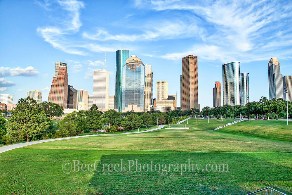 This is an image of the Houston cityscape from a park near downtown with all the skyscrapers towering over head.